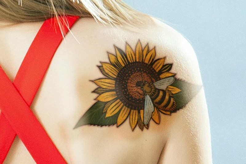sunflower tattoo with bee