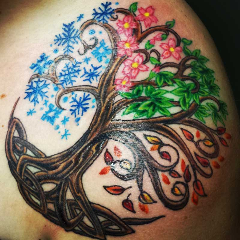 tree of life tattoo shoulder cap