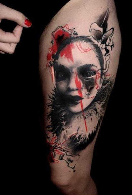 trash polka tattoos thigh
