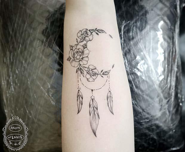 dream catcher tattoo forearm