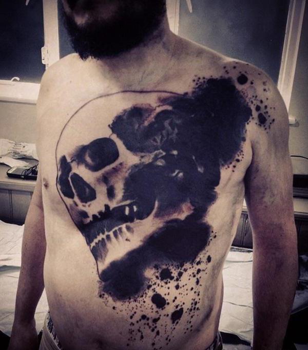 trash polka tattoo chest