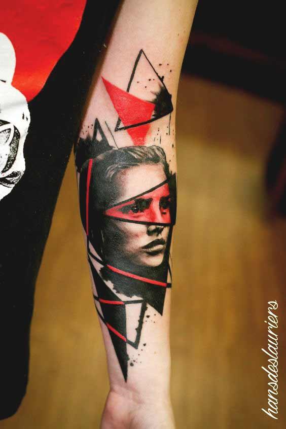 trash polka tattoo forearm