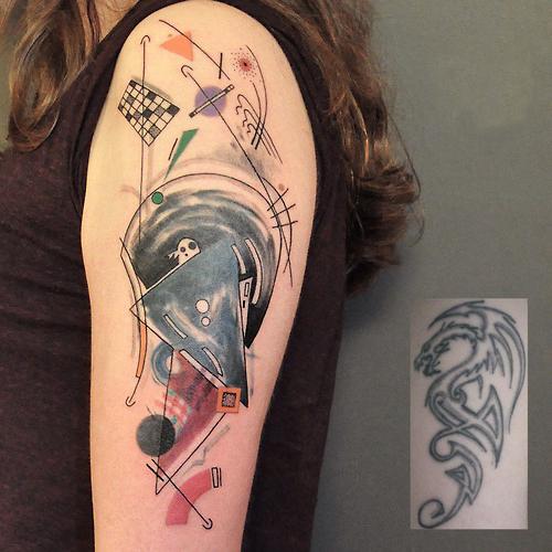 Geometric Cover Up Tattoo 2