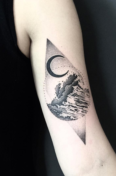 Geometric Wave Tattoo 3