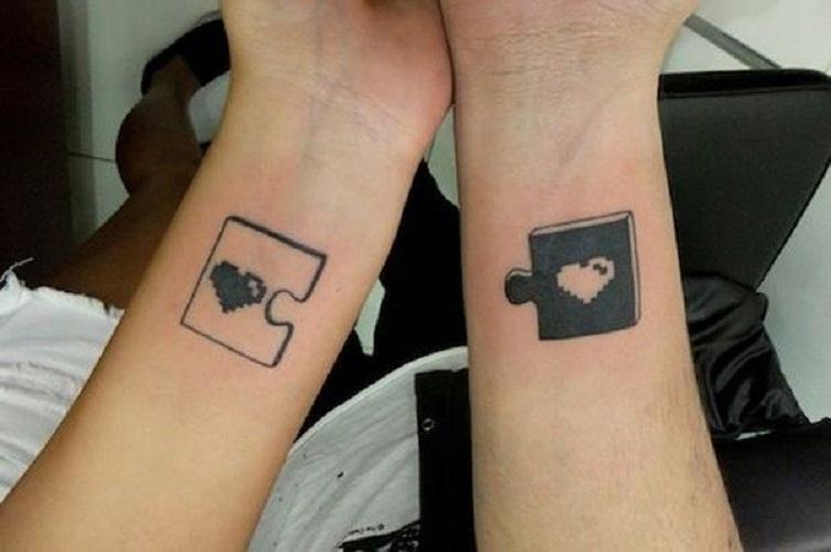 couple heart tattoos