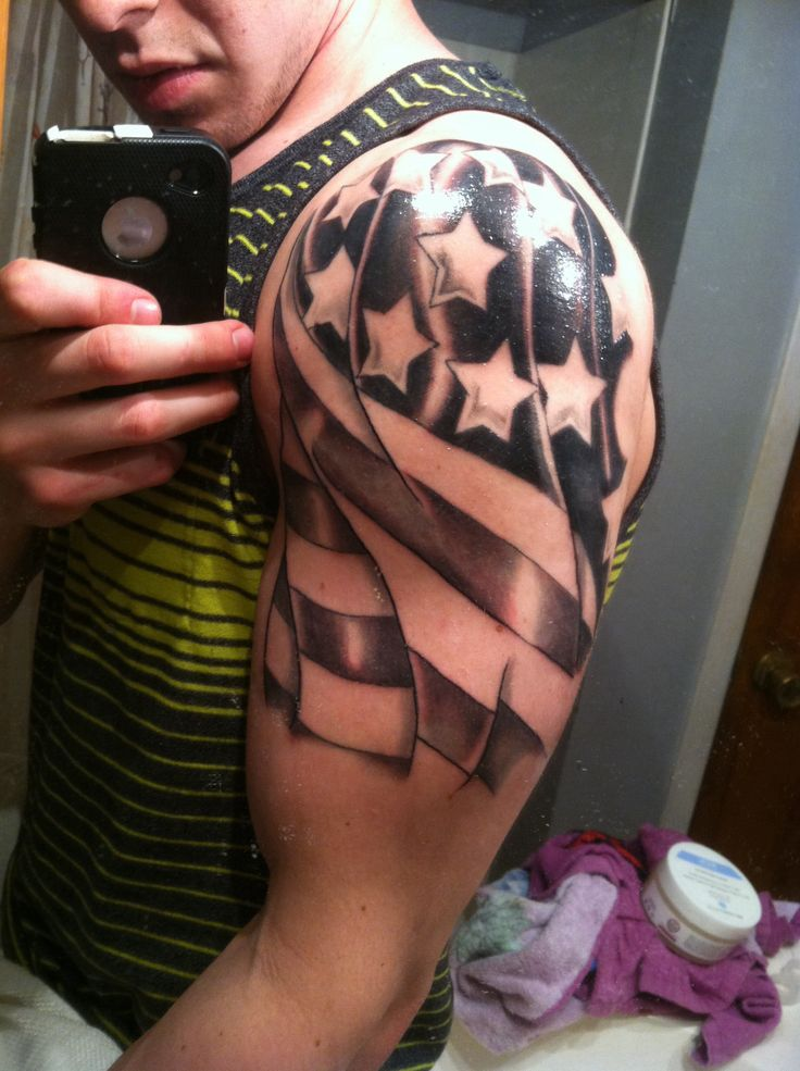 Men American Flag Tattoo 2