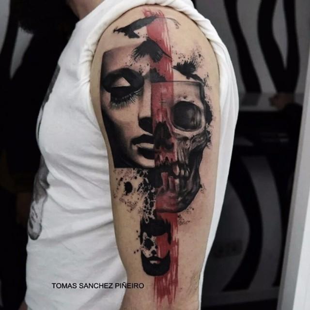 trash polka tattoo arm