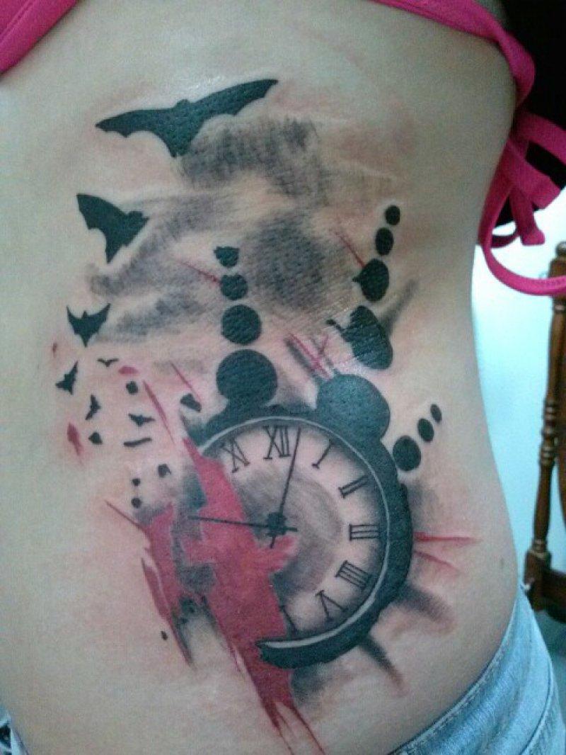 trash polka tattoo ribs