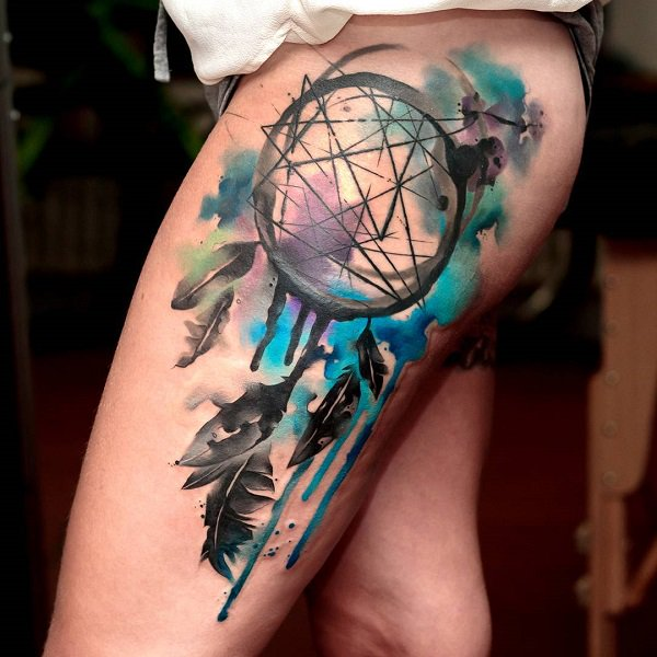 dream catcher tattoo thigh