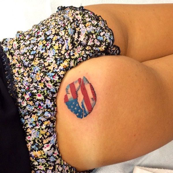 Women American Flag Tattoo 3