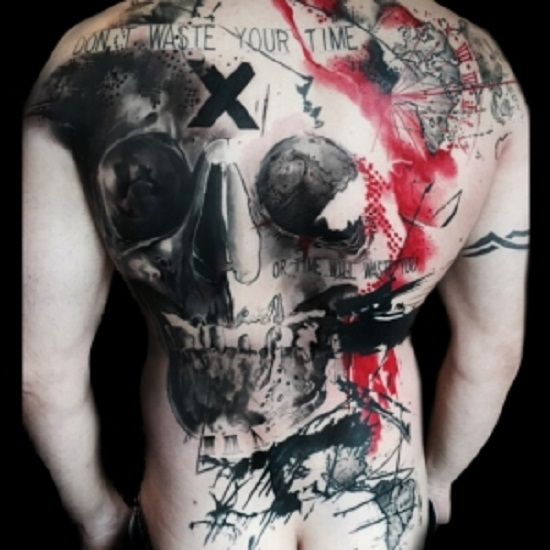trash polka tattoo back