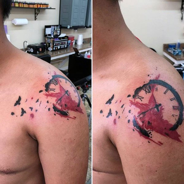 trash polka tattoo shoulder