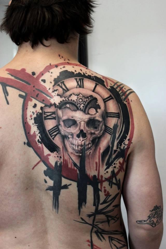 trash polka tattoo back