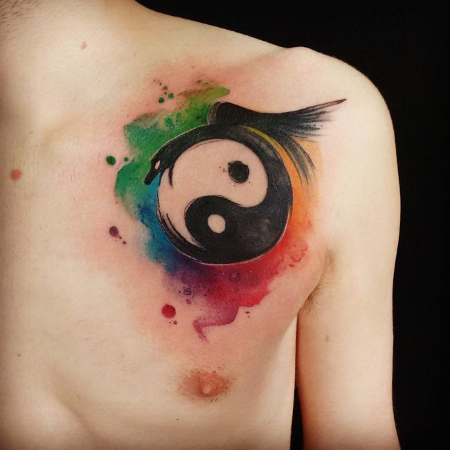 brush yin yang tattoo 10