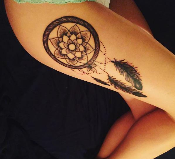 dream catcher tattoo thigh
