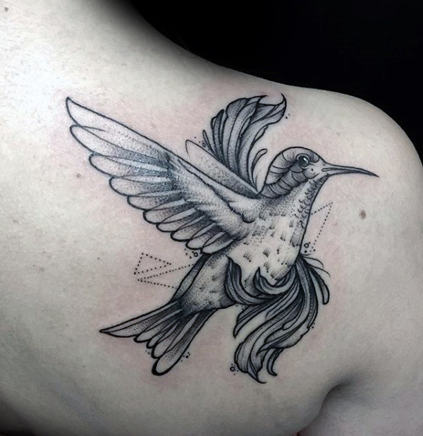 hummingbird tattoo plain for men