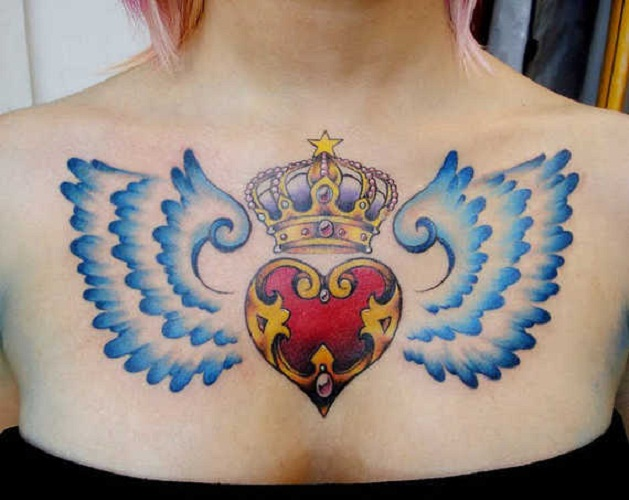 heart tattoo with wings
