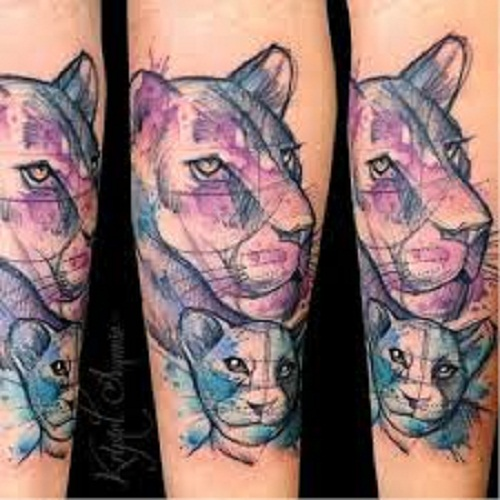 mother daughter tattoos lioness and cub
