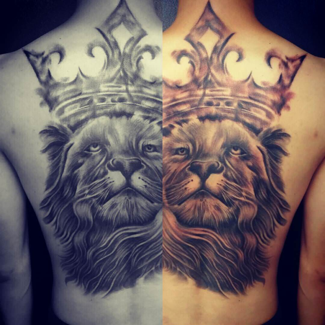 lion tattoo back