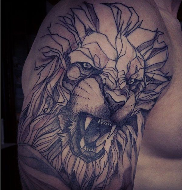 lion tattoo bicep