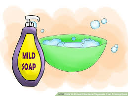 mild soap and water