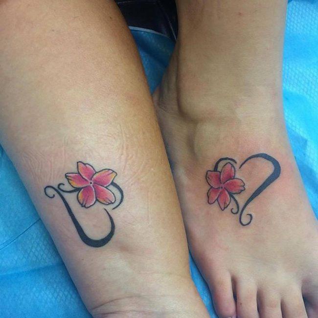 mother daughter flower tattoos