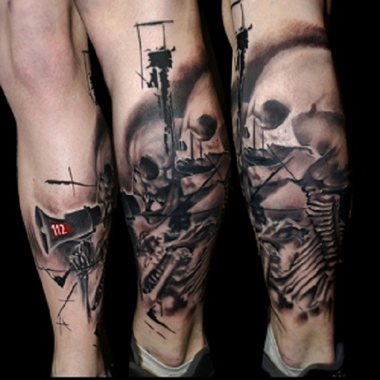 trash polka tattoo calf leg
