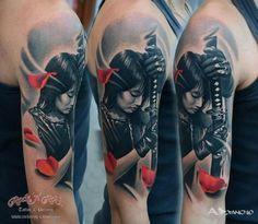 samurai women tattoo 1