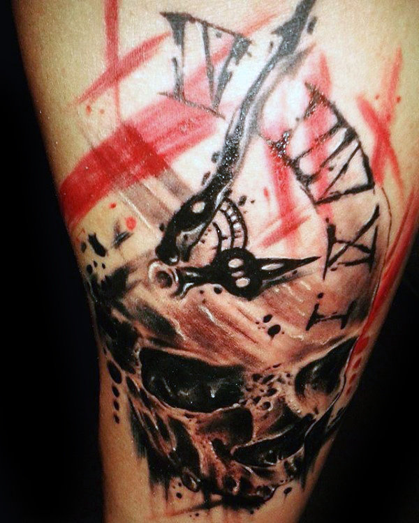 trash polka tattoo inner arm