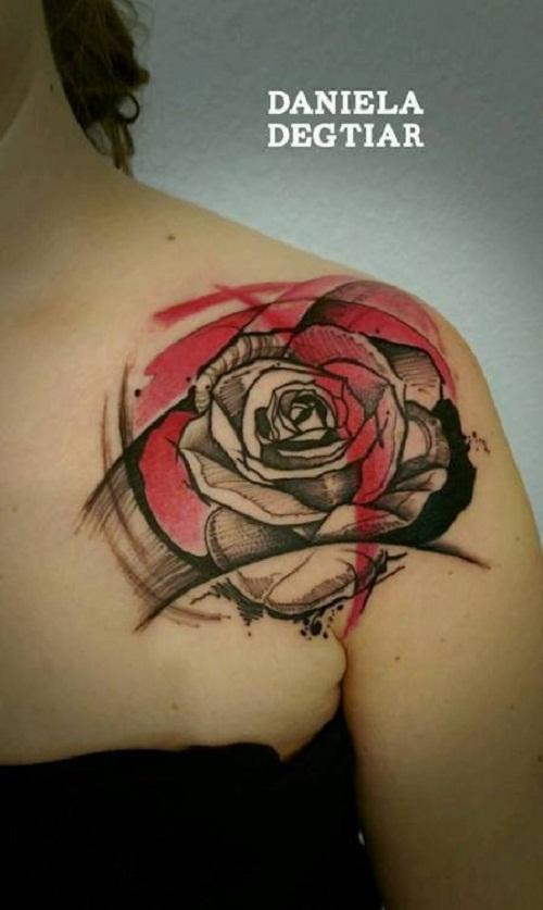 trash polka tattoo shoulder