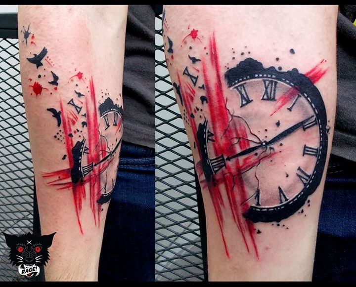 trash polka tattoo forearm