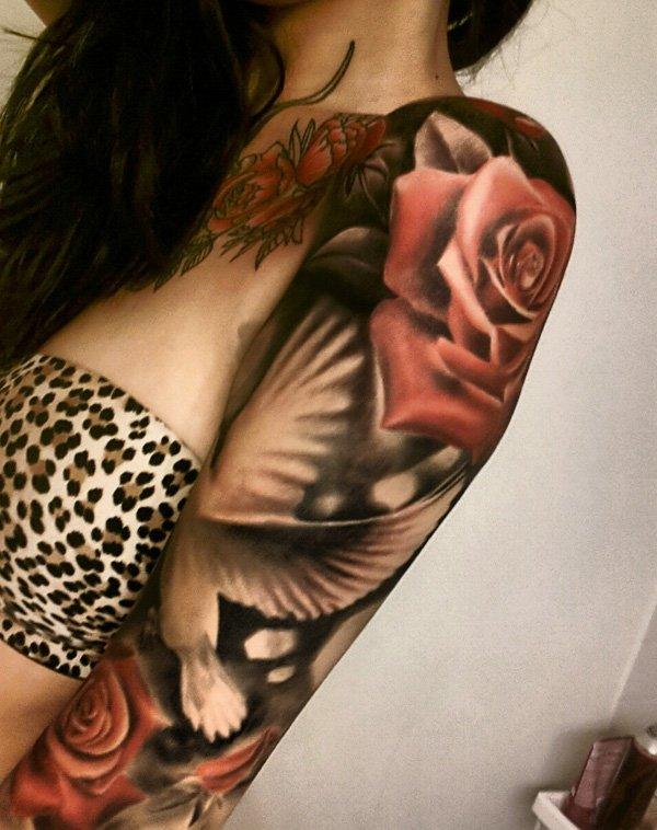 women dove tattoo 9