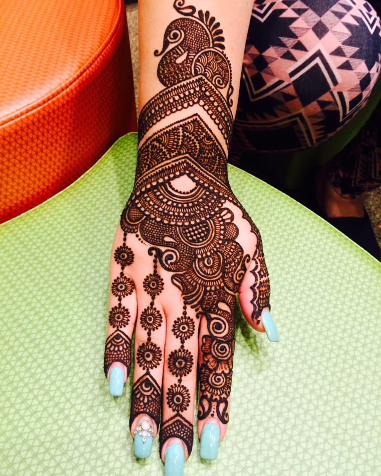 peacock henna tattoo hand