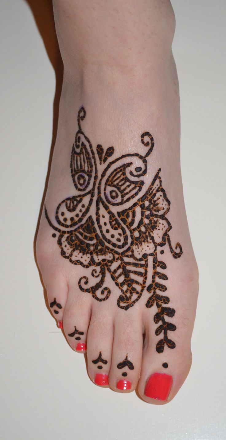 butterfly henna tattoo foot