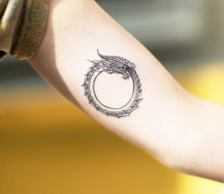 circle ouroboros tattoo 4