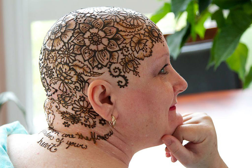 henna tattoo head