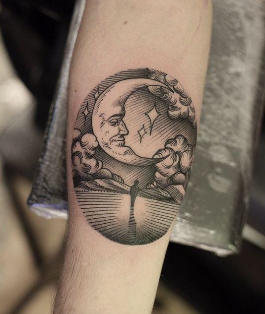 men moon tattoo 4