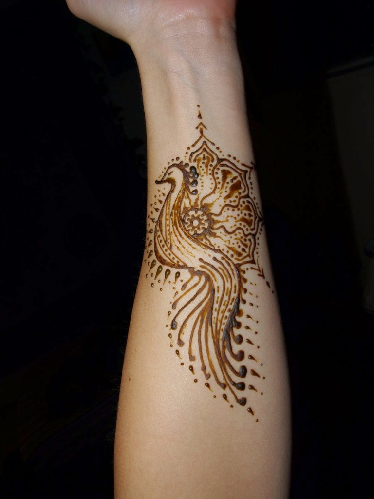 peacock henna tattoo forearm