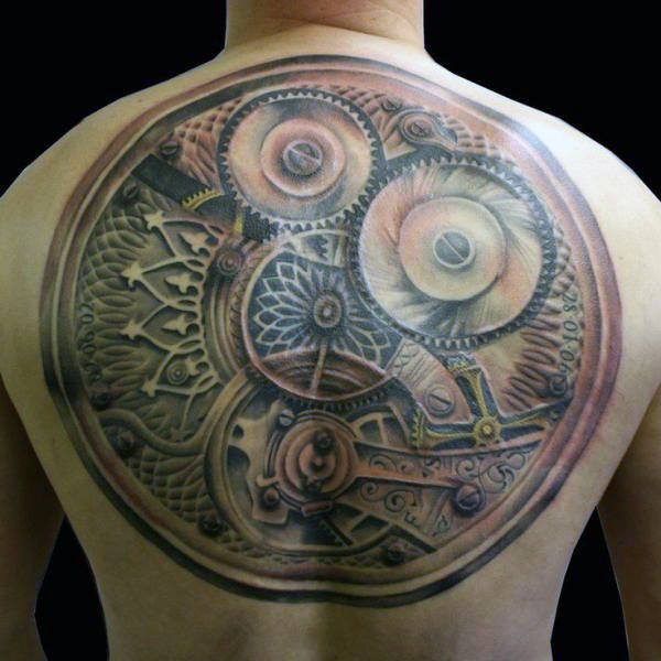 steampunk back tattoo 1