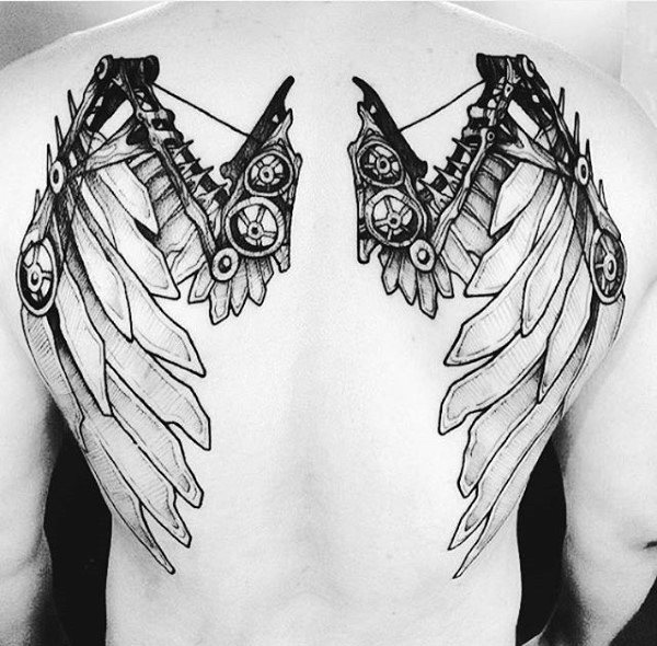 steampunk back tattoo 3