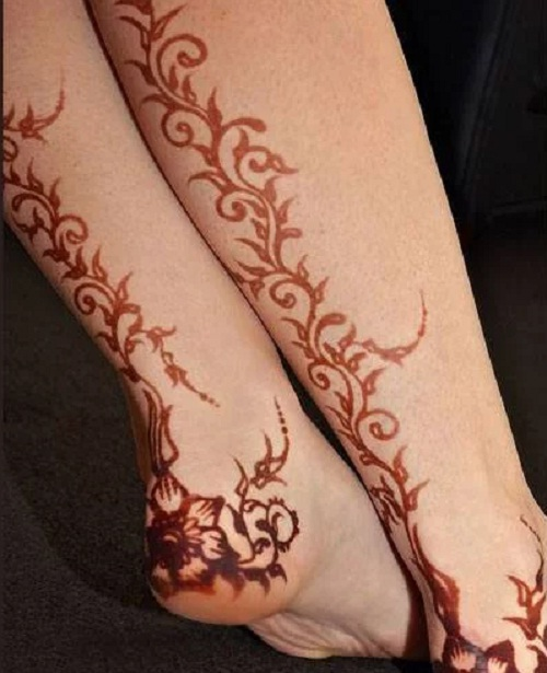 vine henna tattoo foot