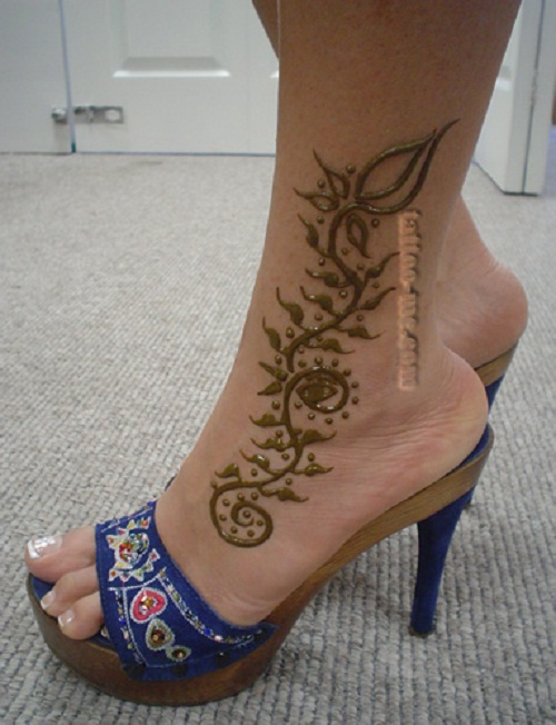 henna tattoo vine ankle