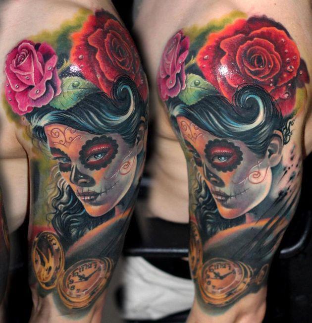 3d sugar skull tattoo 5