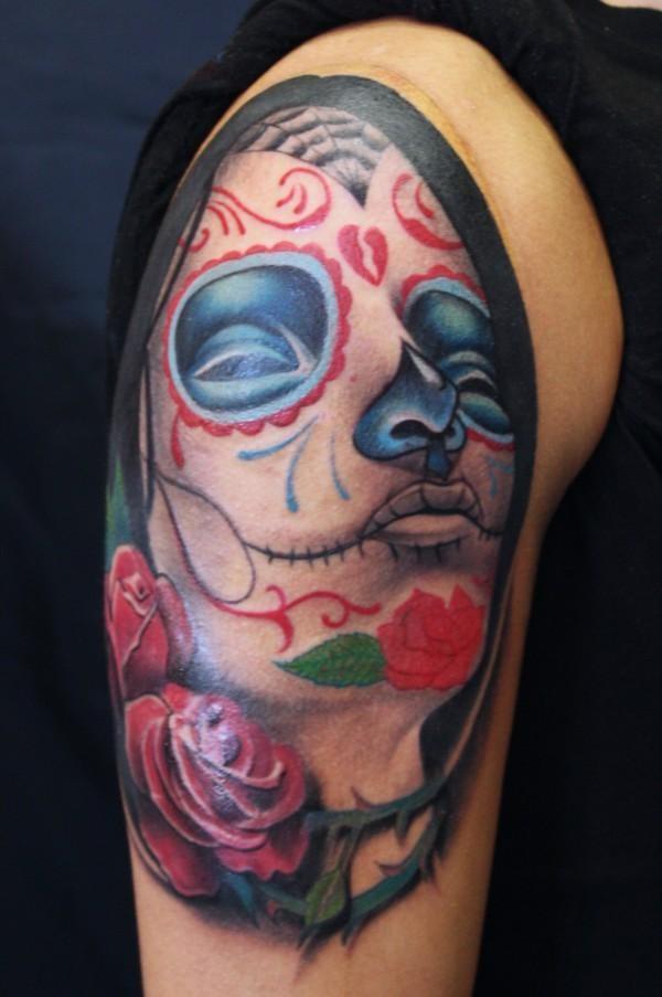 3d sugar skull tattoo 9