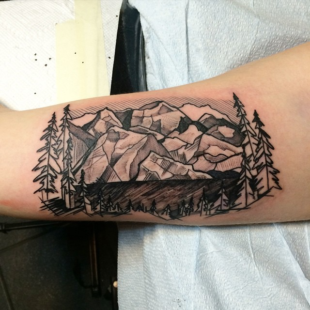 Mountain range tattoo 8