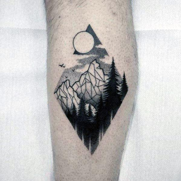 geometric mountain tattoo 1