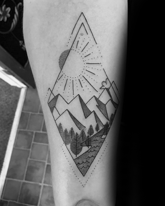 geometric mountain tattoo 2