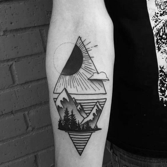 geometric mountain tattoo 3