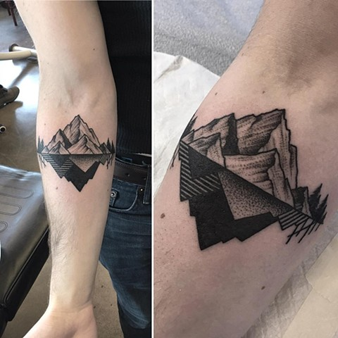 geometric mountain tattoo 6