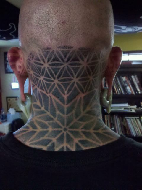 geometric neck tattoo 10